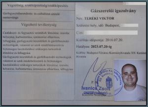 Teréki Viktor gázszerelő mester igazolvány